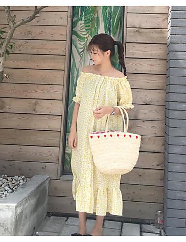 Damen Lose Kleid-Ausgehen Blumen Bateau Maxi Kurzarm Baumwolle Sommer Mittlere Hüfthöhe Mikro-elastisch Dünn