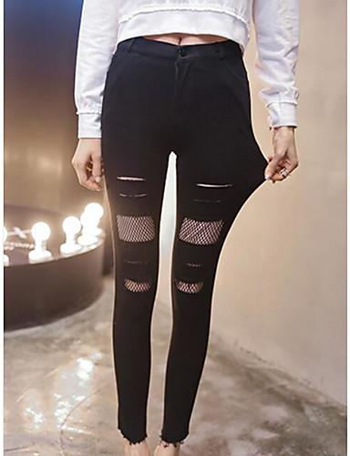 Damen Mittel Solide Einfarbig Legging, Schwarz