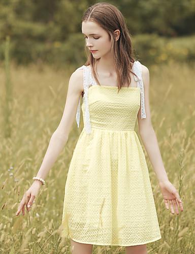 Damen A-Linie Kleid-Ausgehen Lässig/Alltäglich Einfach Niedlich Solide Bateau Übers Knie Ärmellos Polyester Sommer Hohe Hüfthöhe