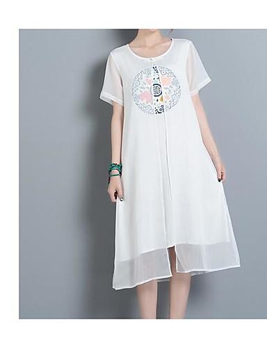 Damen Baumwolle Lose Kleid Solide / Stickerei Midi / Frühling
