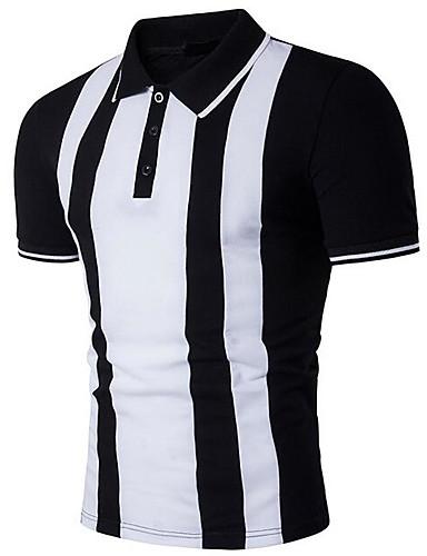 Herren Solide Gestreift Einfach Lässig/Alltäglich T-shirt,Hemdkragen Sommer Kurzarm Baumwolle