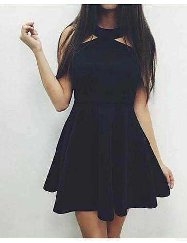 Damen Lose Kleid-Ausgehen Lässig/Alltäglich Solide Halter Übers Knie Ärmellos Baumwolle Sommer Mittlere Hüfthöhe Mikro-elastisch Mittel