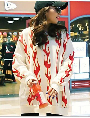 Damen Pullover Lässig/Alltäglich Einfach Druck Rundhalsausschnitt Mikro-elastisch Baumwolle Lange Ärmel Frühling Herbst