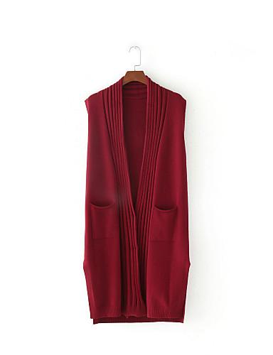 Damen Lang Weste-Ausgehen Lässig/Alltäglich Einfach Solide V-Ausschnitt Ärmellos Baumwolle Frühling Herbst Dünn Mittel Mikro-elastisch