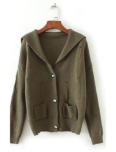 Damen Standard Strickjacke-Ausgehen Lässig/Alltäglich Einfach Solide Gestreift V-Ausschnitt Langarm Baumwolle Andere Frühling Herbst Dünn