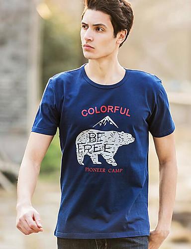 Herren Tierfell-Druck Einfach Ausgehen T-shirt,Rundhalsausschnitt Kurzarm Baumwolle