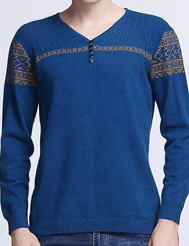 Herren Standard Pullover-Lässig/Alltäglich Einfach Solide Druck V-Ausschnitt Langarm Kaschmir Frühling Mittel Dehnbar