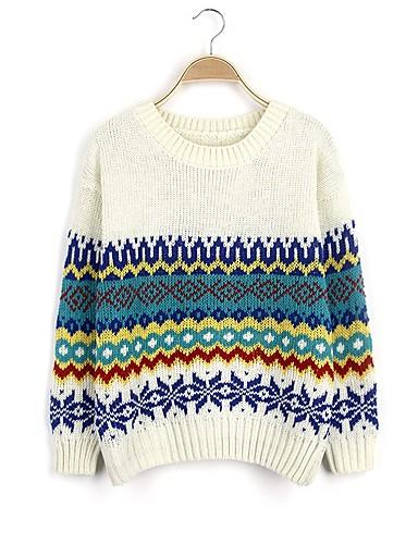 Damen Standard Pullover-Ausgehen Lässig/Alltäglich Einfach Druck Rundhalsausschnitt Langarm Wolle Herbst Winter Dick Mikro-elastisch