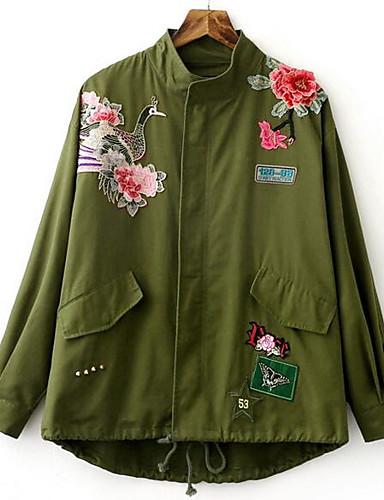 Damen Druck Einfach Lässig/Alltäglich Jacke,Ständer Herbst Lange Ärmel Standard Baumwolle
