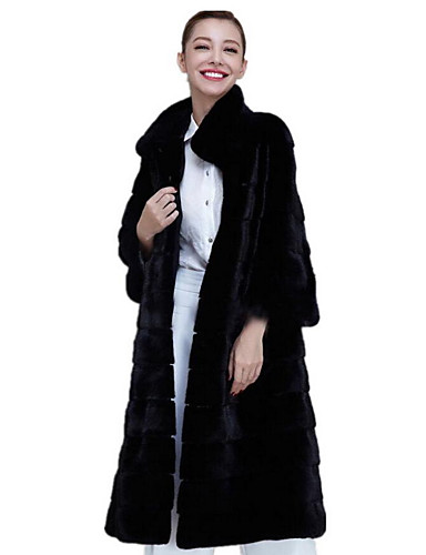 Women's Faux Fur Fur Coat - Solid Colored Stand