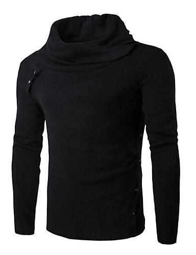 Herren Standard Pullover-Ausgehen Lässig/Alltäglich Street Schick Solide Rollkragen Langarm Polyester Herbst Winter Mittel Mikro-elastisch