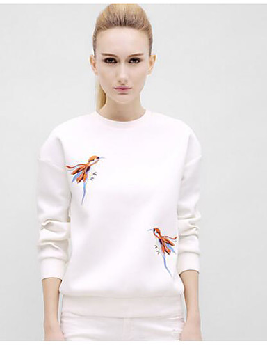 Damen Pullover Lässig/Alltäglich Einfach Solide Rundhalsausschnitt Unelastisch Andere Lange Ärmel Herbst