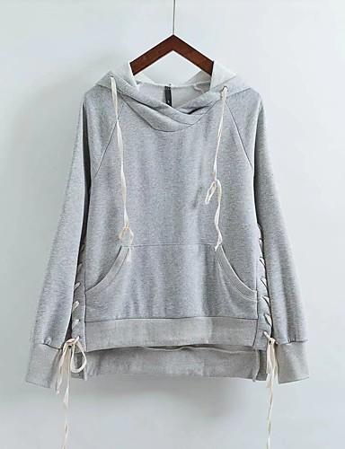 Damen Kapuzenshirt Sport Ausgehen Lässig/Alltäglich Einfach Niedlich Aktiv Solide Mikro-elastisch Baumwolle