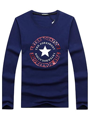 Men's Sports Active Plus Size Cotton T-shirt - Letter Print Round Neck