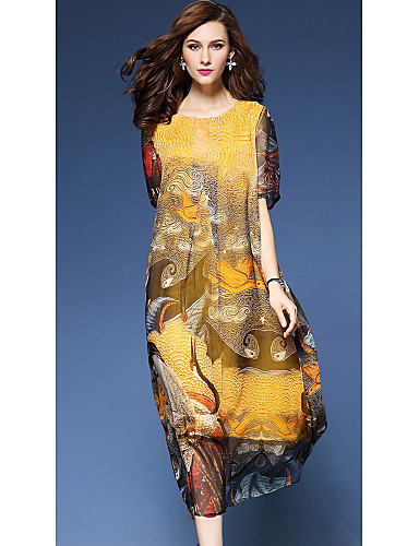 Women's Holiday / Going out Vintage / Street chic A Line / Loose Dress Crane, Print