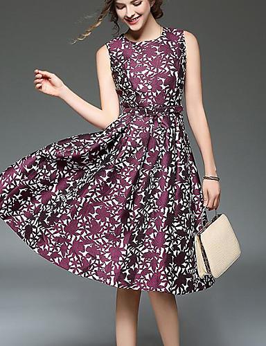 Damen A-Linie Kleid-Ausgehen Lässig/Alltäglich Einfach Druck Rundhalsausschnitt Knielang Ärmellos Polyester Sommer Mittlere Hüfthöhe