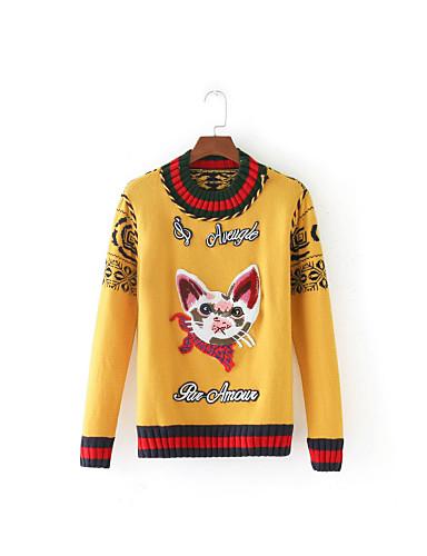 Damen Standard Pullover-Ausgehen Lässig/Alltäglich Einfach Solide Gestreift Einfarbig Rundhalsausschnitt Langarm Baumwolle Frühling Herbst