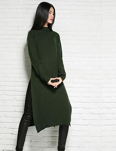 Damen Lang Pullover-Lässig/Alltäglich Solide Rundhalsausschnitt Langarm Baumwolle Frühling Winter Mittel Mikro-elastisch