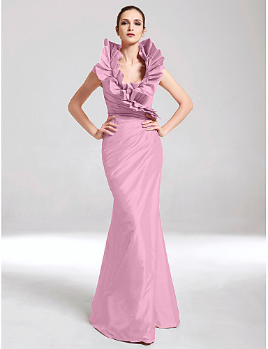 abordables robe invitée mariage-Trompette / Sirène Col en V Longueur Sol Taffetas Soirée Formel Robe avec Pan drapé / Volants par TS Couture®