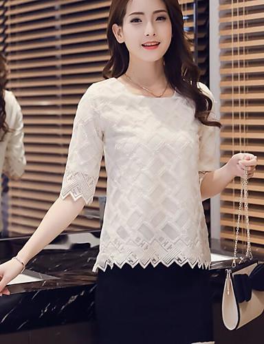 Damen Solide Einfach Ausgehen T-shirt,Rundhalsausschnitt Sommer Halbe Ärmel Acryl Dünn