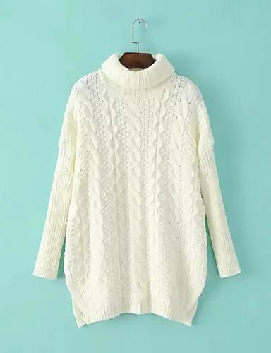 Damen Lang Pullover-Ausgehen Lässig/Alltäglich Einfach Niedlich Solide Rollkragen Langarm Baumwolle Frühling Herbst Dünn Mikro-elastisch