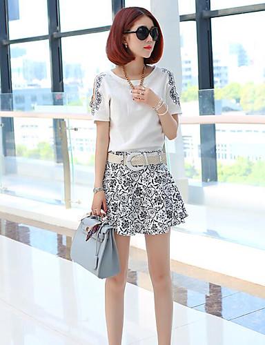 Damen Druck Einfach Lässig/Alltäglich T-Shirt-Ärmel Hose Anzüge,Rundhalsausschnitt Sommer Kurzarm