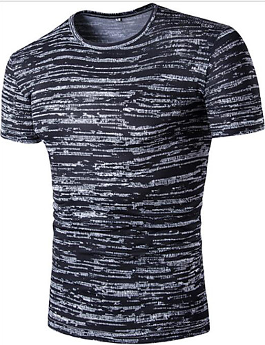 Men's Casual Cotton T-shirt - Striped Round Neck / Short Sleeve