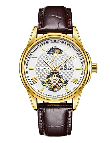 Men's Mechanical Watch Japanese Water Resistant / Water Proof / Hollow Engraving / Noctilucent Genuine Leather Band Luxury / Fashion Black / Brown / Automatic self-winding / Moon Phase