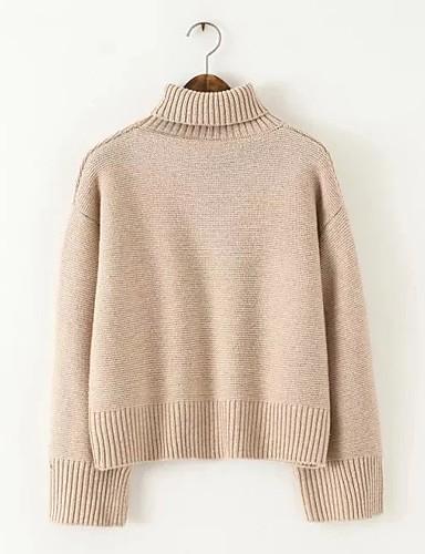 Damen Standard Pullover-Ausgehen Lässig/Alltäglich Einfach Solide Rollkragen Langarm Andere Frühling Herbst Dünn Mittel Mikro-elastisch
