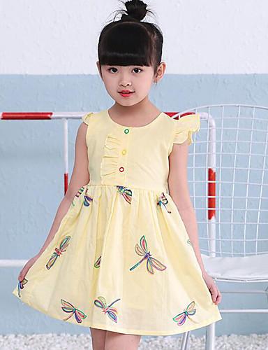 Mädchen Kleid Geometrisch Baumwolle Sommer Lange Ärmel