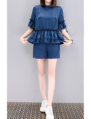 Damen Solide Einfach Lässig/Alltäglich T-Shirt-Ärmel Hose Anzüge,Rundhalsausschnitt Sommer Kurzarm Mikro-elastisch