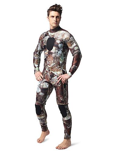 baratos Roupas de Mergulho & Camisas de Proteção-Homens Macacão de Mergulho Longo 3mm Neoprene Roupas de Mergulho Prova-de-Água Térmico / Quente Manga Longa Zip posteriore - Natação Mergulho Surfe Floral Botânico camuflagem