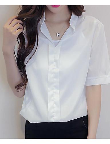 Damen Solide Einfach Ausgehen T-shirt,Hemdkragen Kurzarm Baumwolle