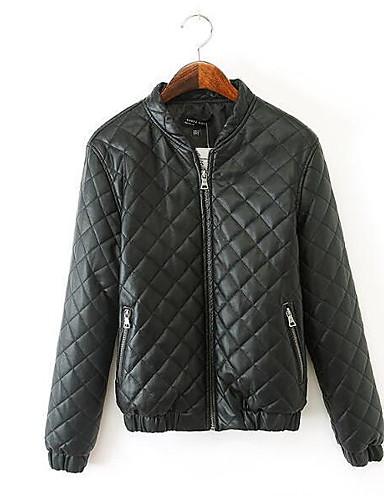 Damen Gefüttert Mantel Einfach Lässig/Alltäglich Solide-PU Baumwolle Baumwolle Langarm