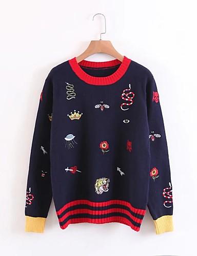 Damen Standard Pullover-Ausgehen Lässig/Alltäglich Einfach Solide Druck Einfarbig Rundhalsausschnitt Langarm Wolle Baumwolle Acryl