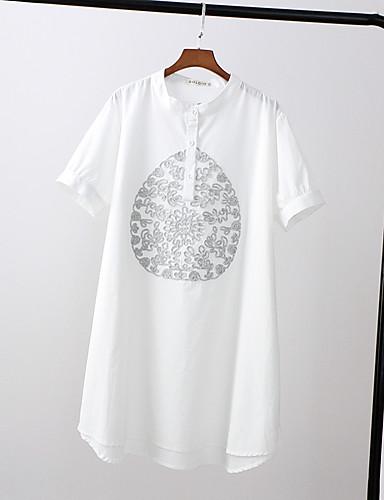 Damen Solide Druck Niedlich Street Schick Sport Lässig/Alltäglich Strand T-shirt,Rundhalsausschnitt Sommer Herbst Kurzarm Baumwolle Dünn