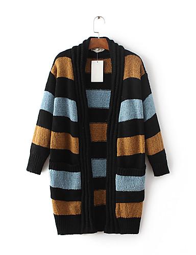 Damen Lang Strickjacke-Ausgehen Lässig/Alltäglich Einfach Druck Einfarbig V-Ausschnitt Langarm Wolle Baumwolle Frühling Herbst Dünn Mittel