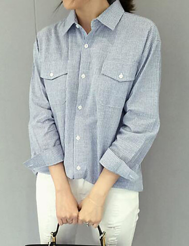 Herren Solide Einfach Lässig/Alltäglich Hemd,Hemdkragen Langarm Baumwolle