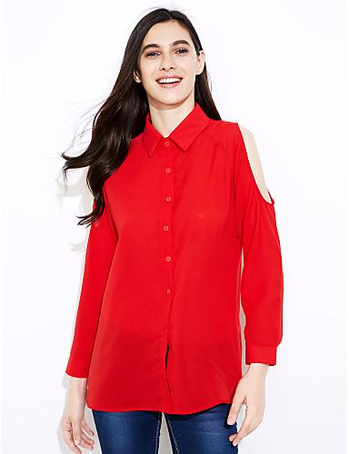 billige Dametopper-Skjortekrage Skjorte Dame - Ensfarget, Utskjæring Enkel / Gatemote Arbeid Vin / Vår / Høst