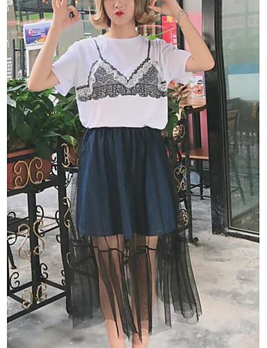 Damen Solide Einfach Lässig/Alltäglich T-Shirt-Ärmel Rock Anzüge,Rundhalsausschnitt Sommer Kurzarm