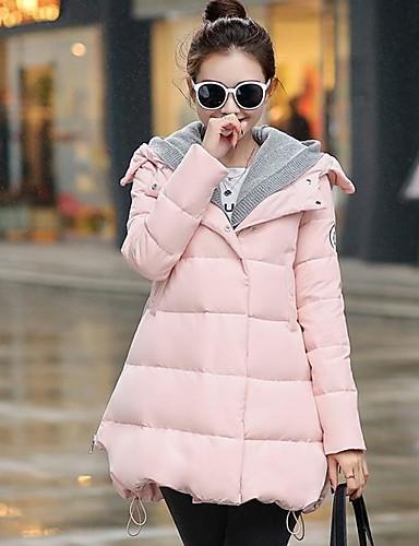 Damen Daunenjacke Mantel Freizeit Aktiv Ausgehen Solide Gestreift Druck-Baumwolle Acryl Andere Polypropylen Langarm