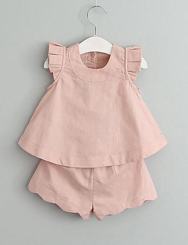 Mädchen Kleidungs Set Solide Kunstseide Sommer Ärmellos Gerüscht Grün Weiß Rosa