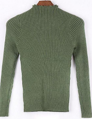 Damen Standard Pullover-Lässig/Alltäglich Einfach Solide Rollkragen Langarm Baumwolle Frühling Herbst Mittel Mikro-elastisch