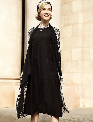 Damen Geometrisch Druck Chinoiserie Lässig/Alltäglich Trench Coat,Hemdkragen Frühling Lange Ärmel Maxi Seide