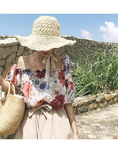 نساء قميص ذهاب للخارج شاطئ قديم ورد صيف باتو بدون كم قطن شفاف