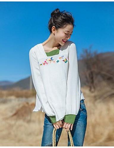 Damen Solide Druck Einfach Lässig/Alltäglich T-shirt,Quadratischer Ausschnitt Langarm Baumwolle