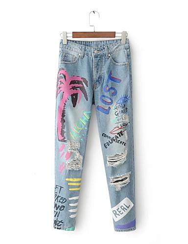 Damen Street Schick Mittlere Hüfthöhe Mikro-elastisch Schlank Jeans Hose,Baumwolle Leinen Winter Frühling Sommer Herbst Druck