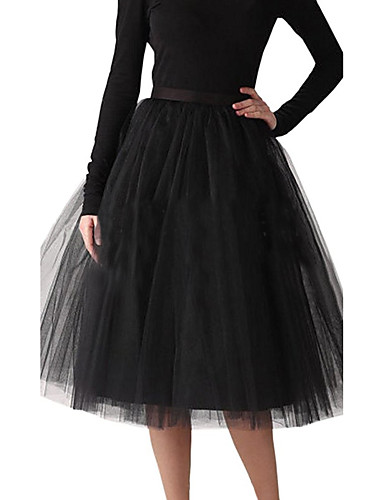 Wedding Halloween Bridal Shower Party & Evening Slips Polyester Tulle Knee-Length A-Line Slip Ball Gown Slip with