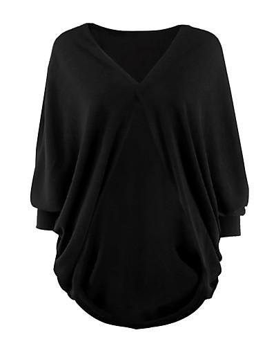 Damen Standard Strickjacke-Lässig/Alltäglich Einfach Solide V-Ausschnitt Langarm Baumwolle Herbst Dick Mikro-elastisch