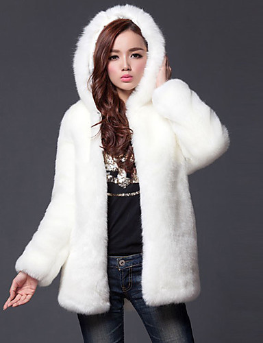 Women's Going out Simple / Casual Fall / Winter Plus Size Regular Fur Coat, Solid Colored Hooded Long Sleeve Faux Fur White / Black XL / XXL / XXXL